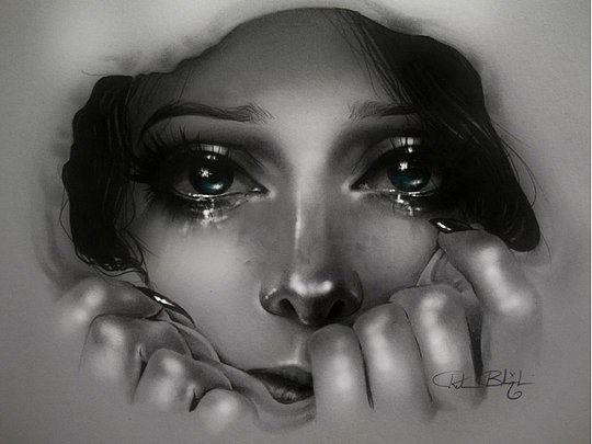 ===Porque lloras???...=== Retratos-mujeres-arte-lapiz-blanco-negro8