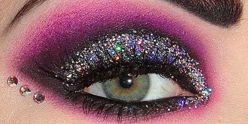 maquillaje ojos noche destellos purpurina