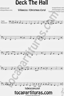 Partitura de Deck The Hall para Violonchelo y Fagot Villancico Popular Christmas Carol Sheet Music for Cello and Bassoon Music Scores