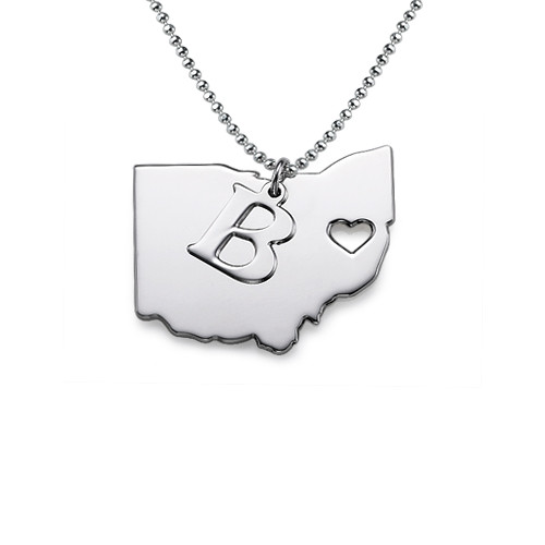 State Necklace with Initial Charm