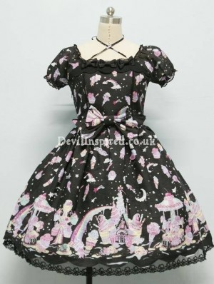 Sweet Milky Planet Printed Rococo Lolita Dress