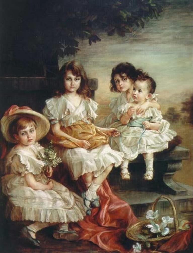 Princesas Adelaida, Charlotte, Hilda y Antonia de Luxemburgo.