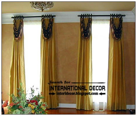 Luxury Golden Window Treatment Designs For Living Room