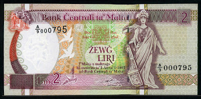Central Bank of Malta Lm 2 liri banknote