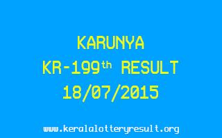 Karunya KR 199 Lottery Result 18-7-2015