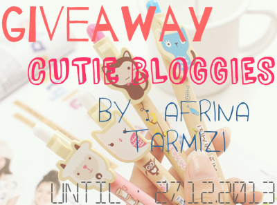 Giveaway Cutie Bloggies Blog by AfrinaTarmizi aka Missrainxx