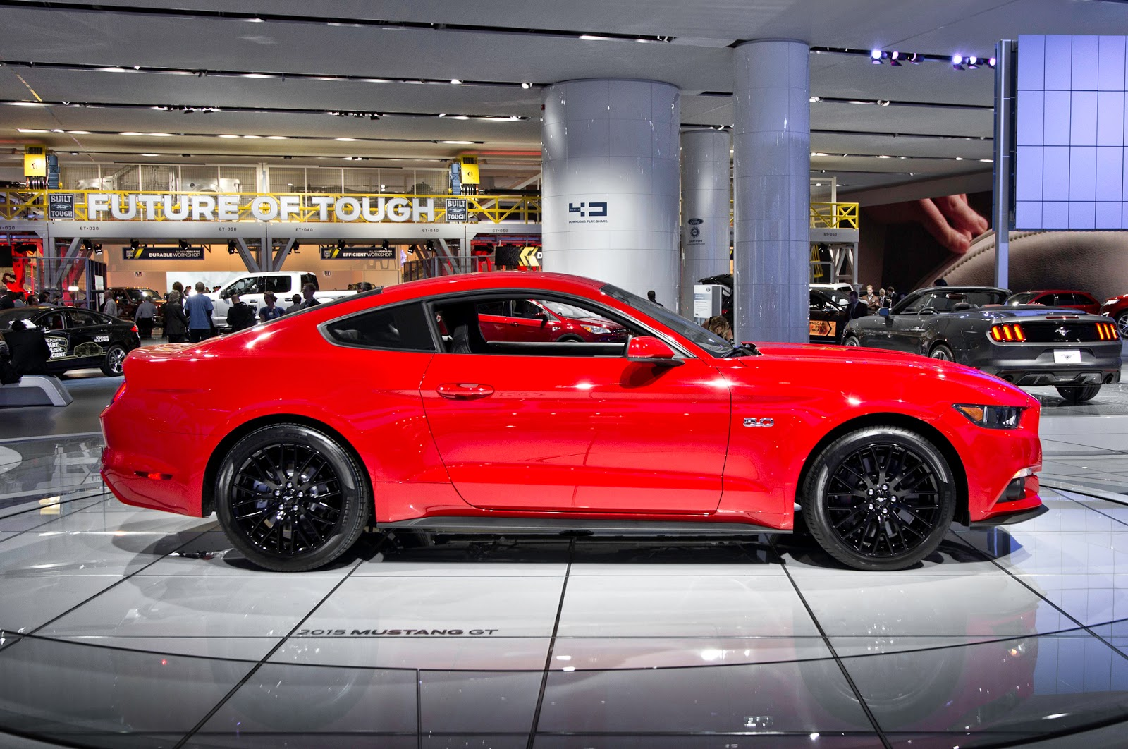 and then show this mustang 2015 black and red