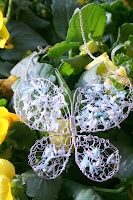 Butterfly (sterling silver wire frame, crochet, mother-of-pear beads) :: All Pretty Things