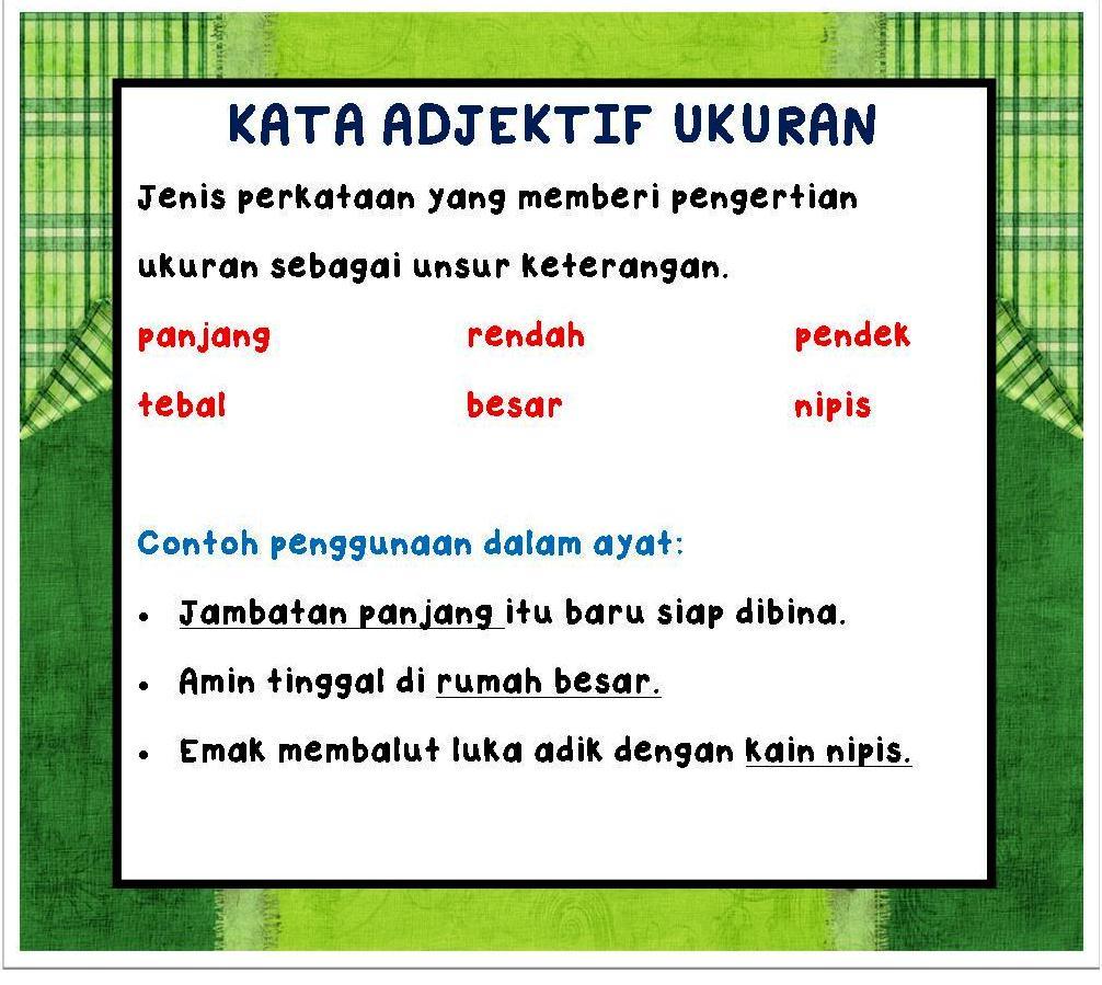 Nota Bahasa Malaysia Kata Sifat Adjektif I