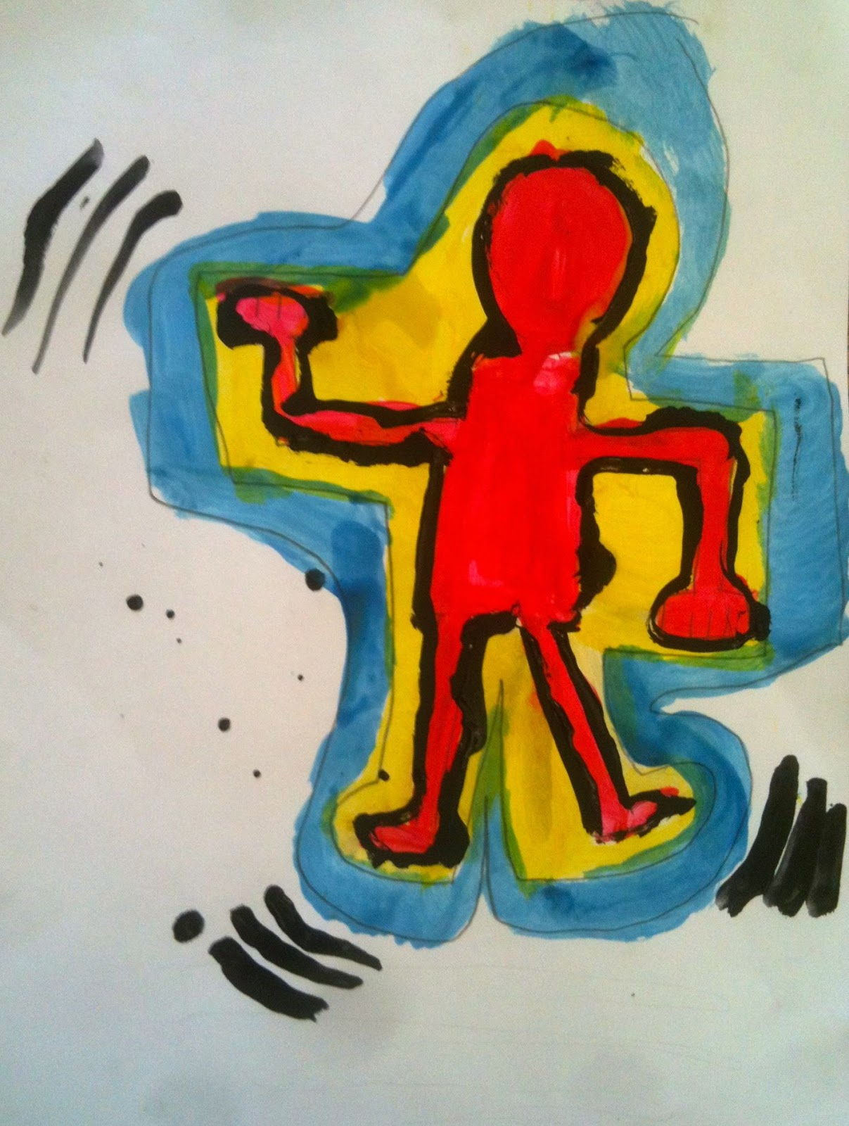 kids art market  organic shape and geometric shape movement figures with keith haring