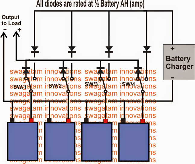 How to Make a Parallel Battery Charger/Changeover Circuit Using SPDT Switches