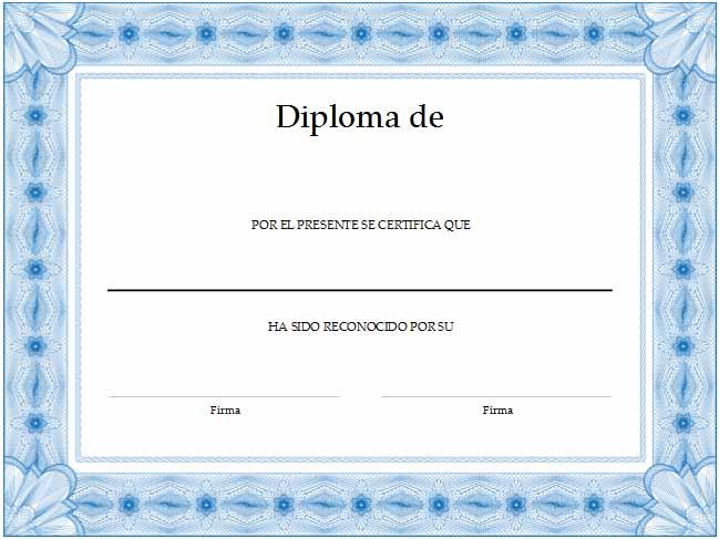 formato de diplomas para llenar