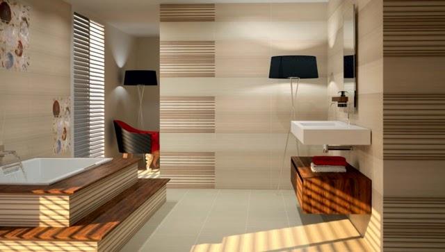 Azulejos Baño Saloni:Diseño de baño moderno donde vemos azulejos con patrones a rayas en