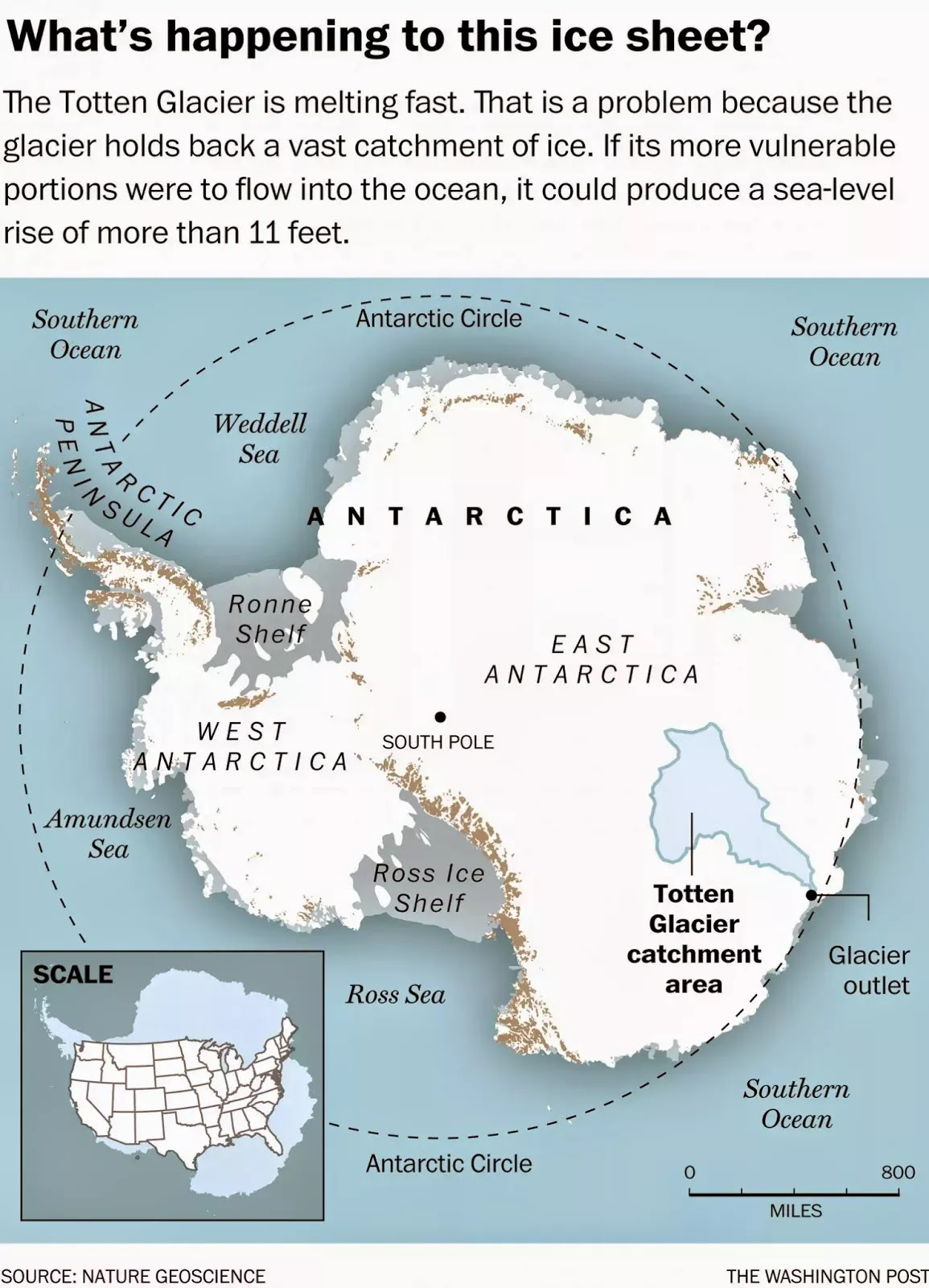 Totten Glacier, Antarctica (Credit: The Washington Post/Nature Geoscience) Click to Enlarge.