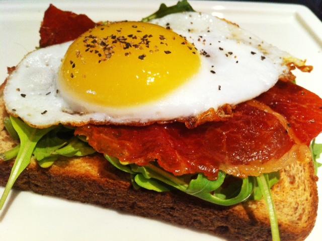 Open-faced Egg, Prosciutto and Arugula Sandwich | savory