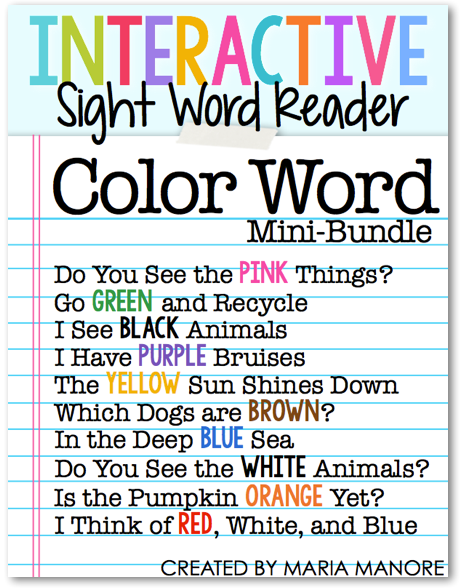 set of 10 color word emergent readers