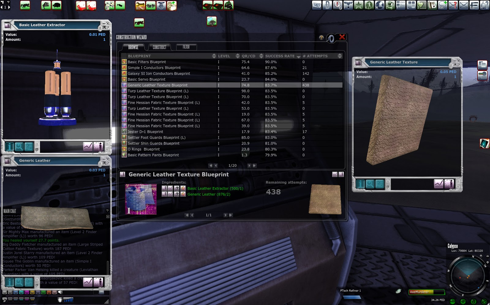 Entropia universe crafting generic leather texture with improved texture blueprint total output tt value 2362 ped output input 2362 28 438 ped 8436 tt return formula return in outputinput100 malvernweather Image collections