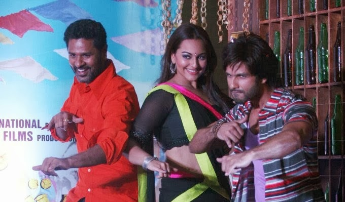 Shahid Kapoor and Sonakshi Sinha with Prabhudheva for R..Rajkumar music launch
