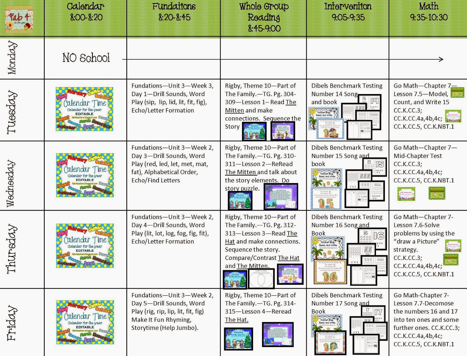 Lesson Plans for Week of January 21, 2014