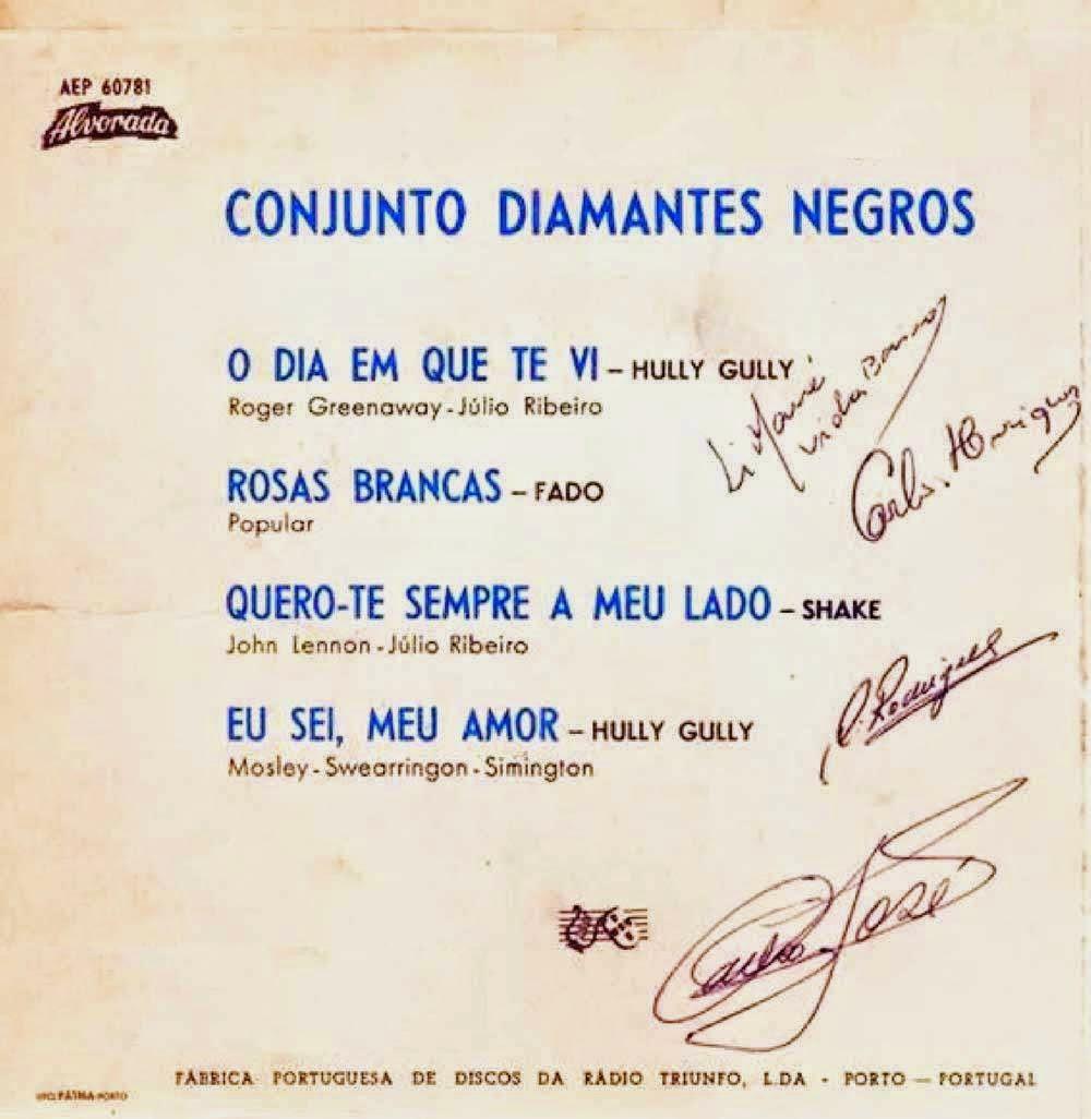 Conjunto Diamantes Negros - O Dia Em Que Te Vi (EP 1966) Back+EP+autografado