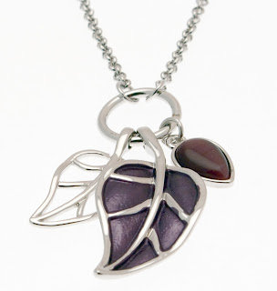 Beautiful purple, leaf charm necklace by Miss Milly