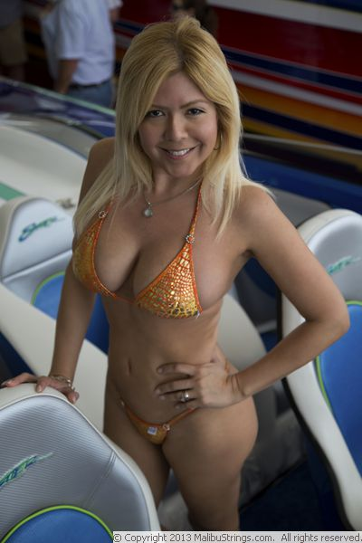micro bikini on sailboat