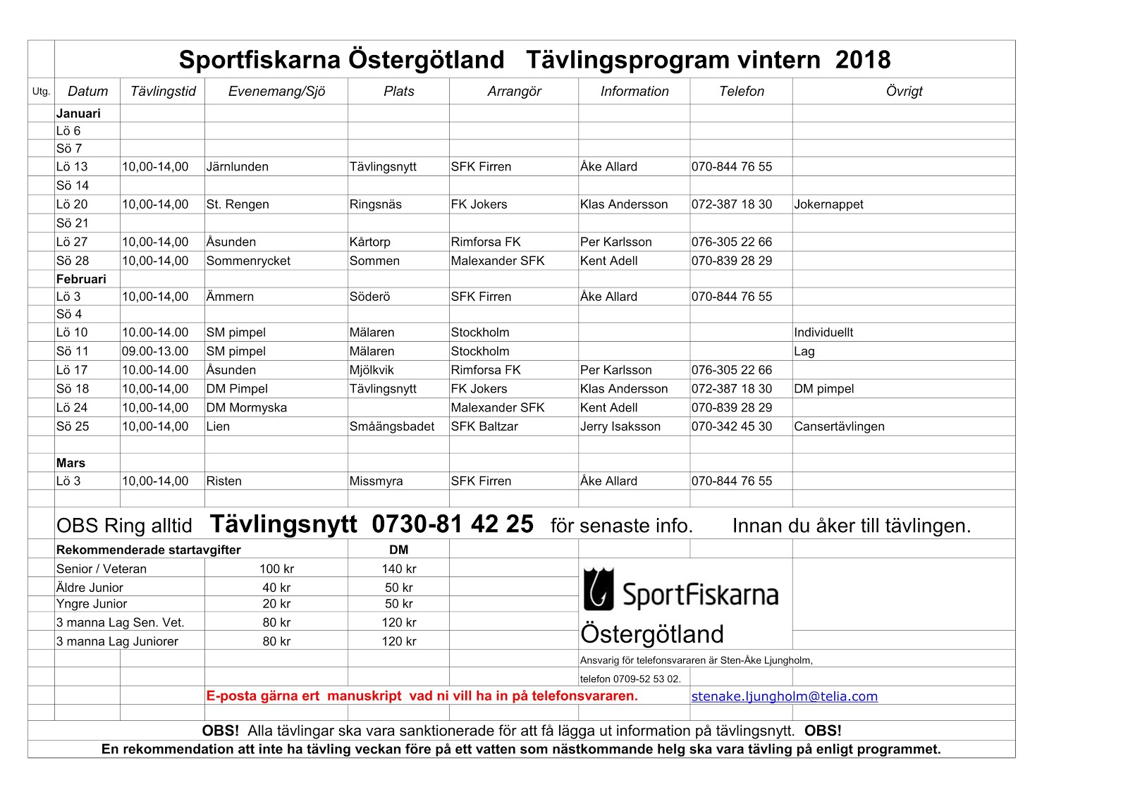 Tävlingsprogram vinter