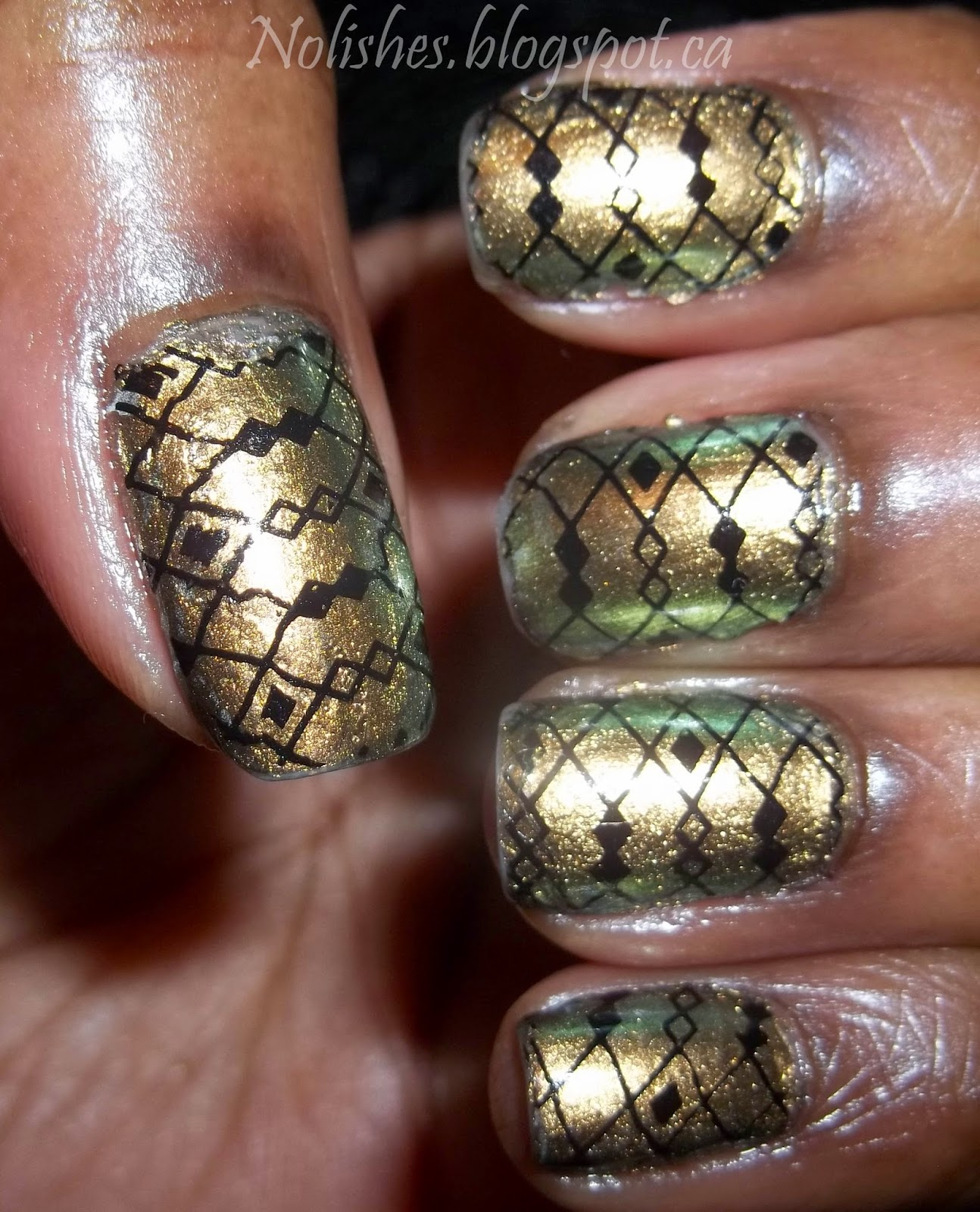 nail stamping manicure using OPI 'Just Spotted the Lizard' a bronze and green duochrome nail polish as the base colour, and stamped with a diamond and line print in black