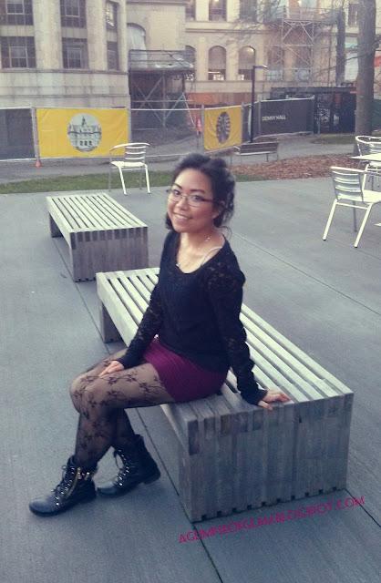 OOTD black lace black coat maroon skirt outfit