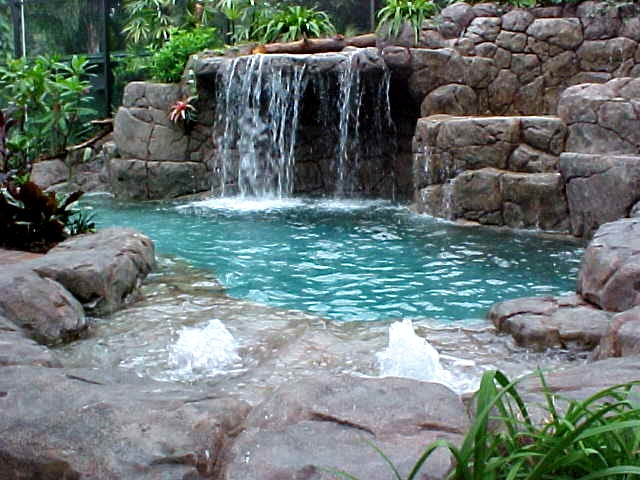 Home And Garden Artificial Rocks around swimming pool