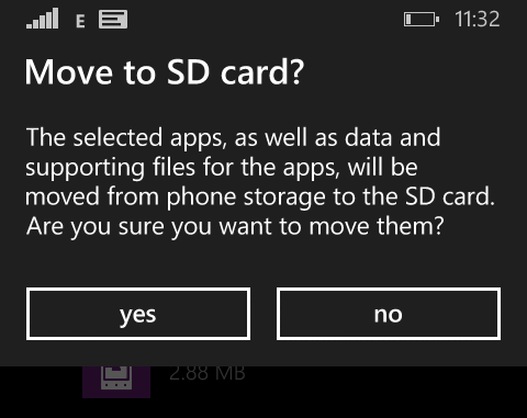 moving apps to SD Card on windows phone