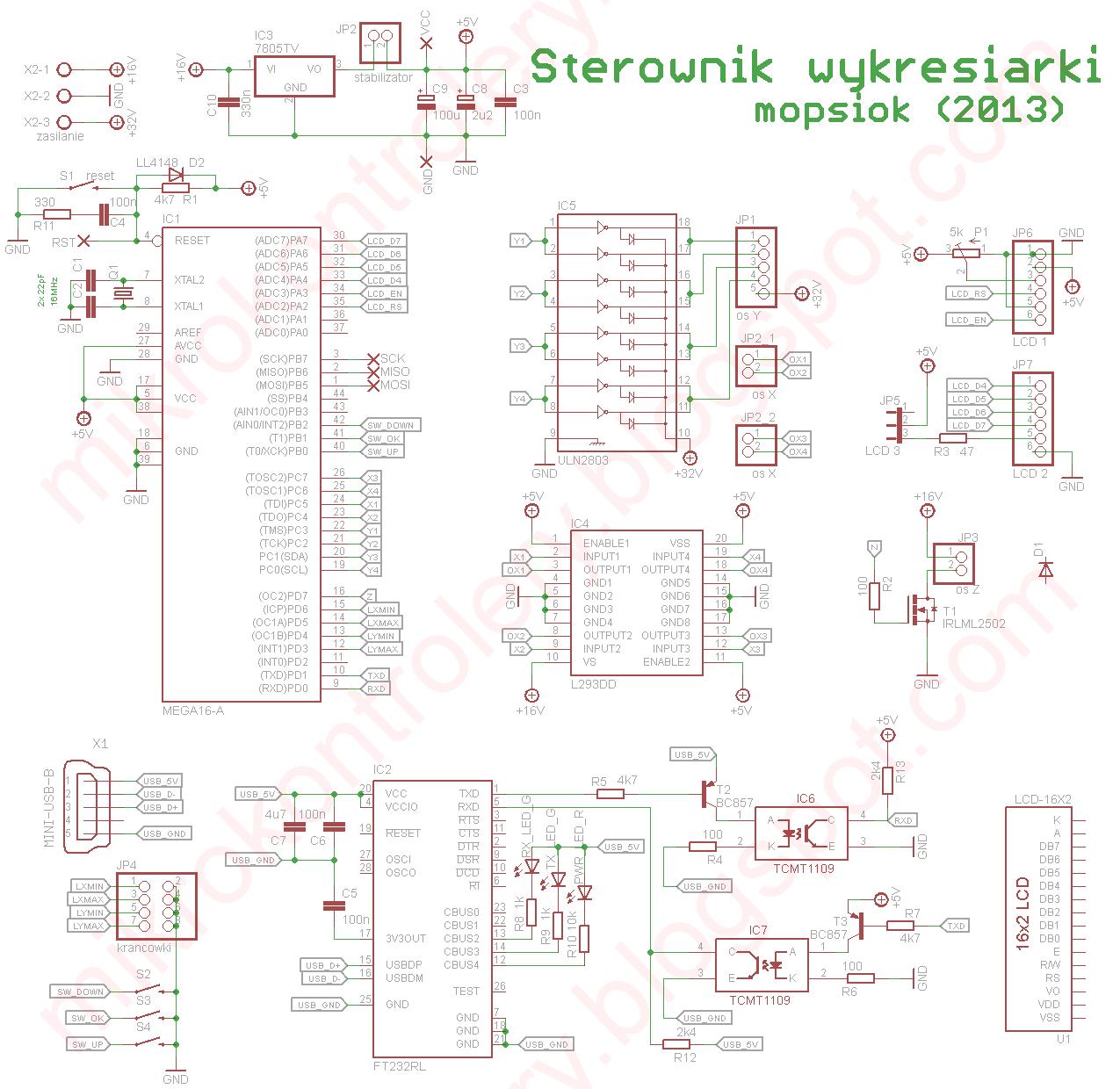 Schemat sterownika Wykresiarki (plotera).