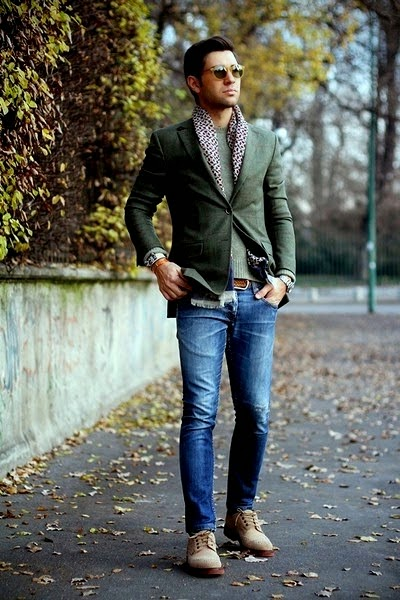 sports coat and jeans