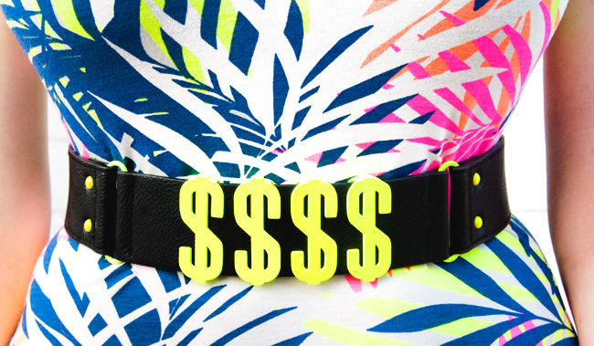 Asos, Dollar belt, neon yellow belt