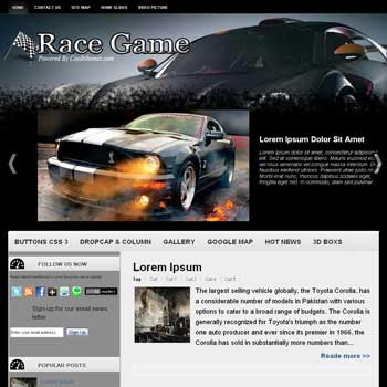 Race Game blogger template. car template blogspot free