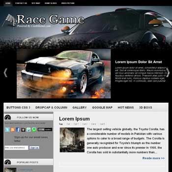 Race Game blogger template. car template blogspot free