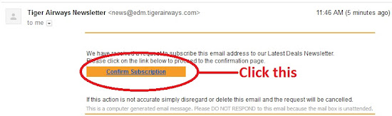 Confirmation message of TigerAirways