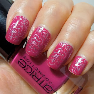 Catrice Wrapped around my Finger stamped with Sally Hansen Pink Satin