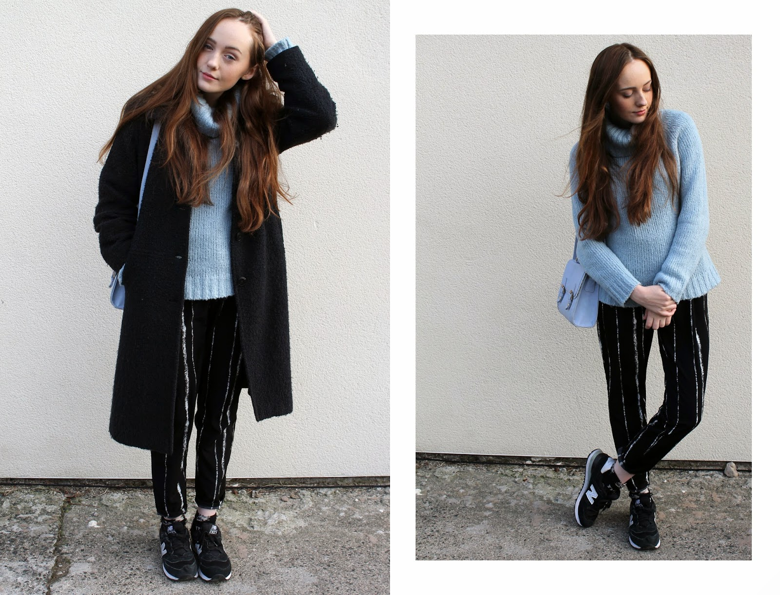 pale blue rollneck jumper worn with matching pastel scalloped satchel from ASOS, long charcoal grey boucle coat, black and white chalk stripe trousers from choies and black new balance 574 trainers