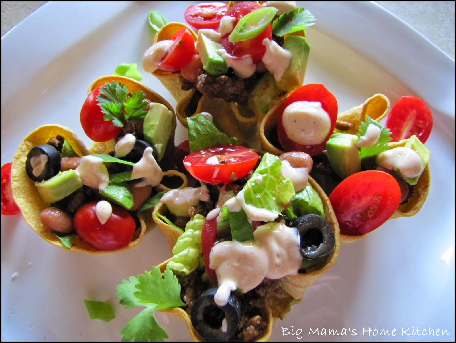 Mini Shredded Beef Taco Salads In Crispy Corn Tortilla ...