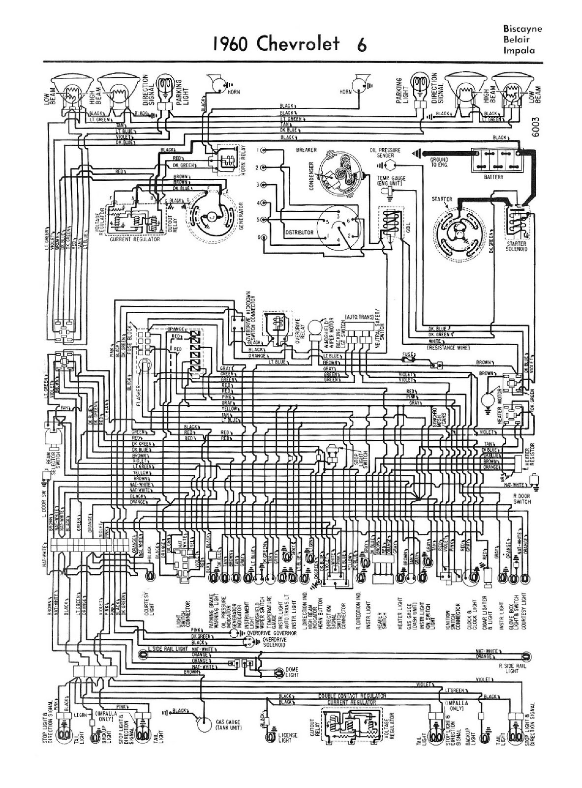 Free Auto Wiring Diagram  1960 Chevrolet V6 Biscayne  Belair  And Impala Wiring Diagram