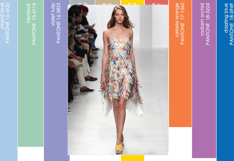 The dress made of vinyl feathers of Pantone colour was one of the most beautiful pieces in Hussain Chalayan collection