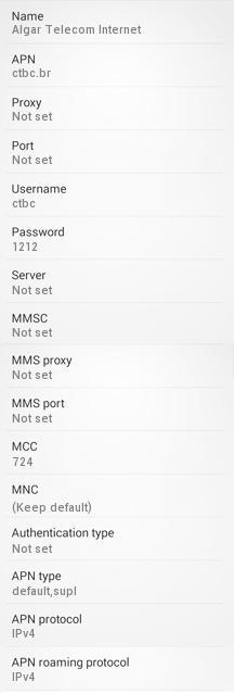 Configuração 3G APN Algar CTBC Android