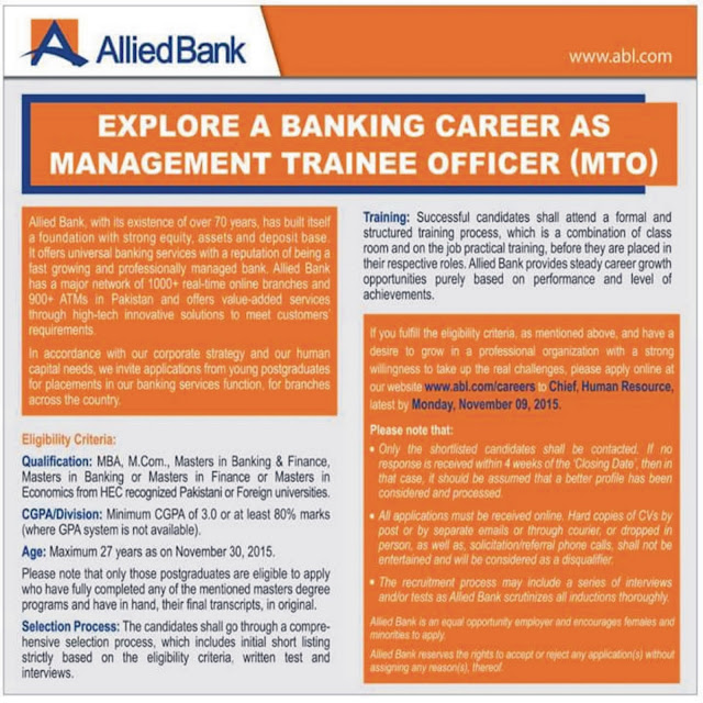 MTO Jobs in Allied Bank Ltd. ABL Jobs