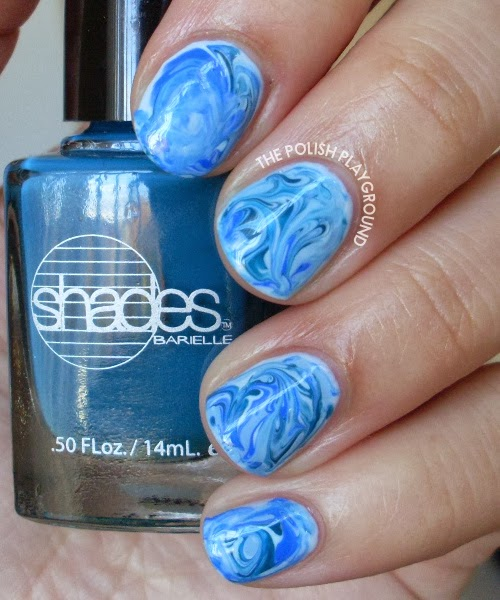 Blue Water Marble Nails