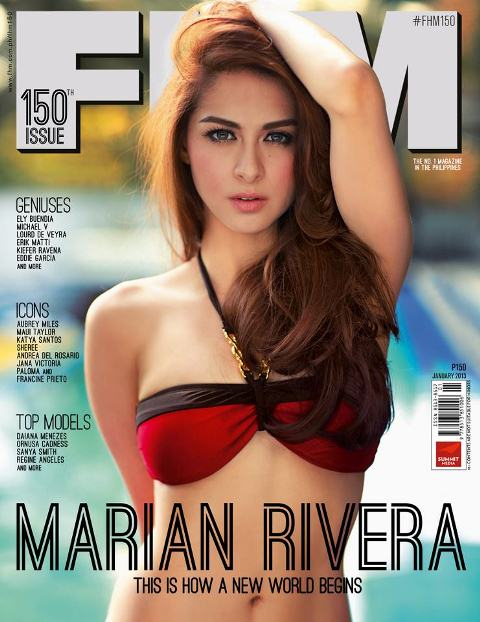 Marian Rivera Covers FHM January 2013 Issue - Her Very First