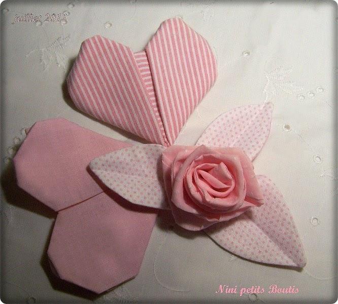 nini petits boutis coeur et rose en tissu. Black Bedroom Furniture Sets. Home Design Ideas
