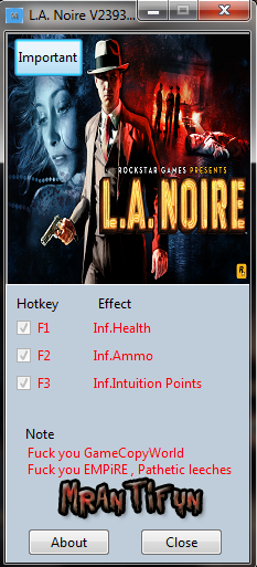 L.A. Noire V2393.1.0.0 Trainer +3 MrAntiFun