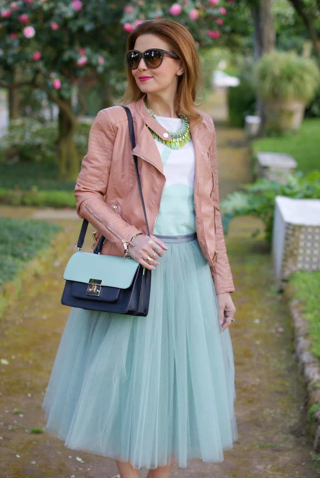 Outfits, tulle skirt, mint tulle skirt, gonna in tulle, Rose a Pois, Fashion and Cookies, fashion blogger