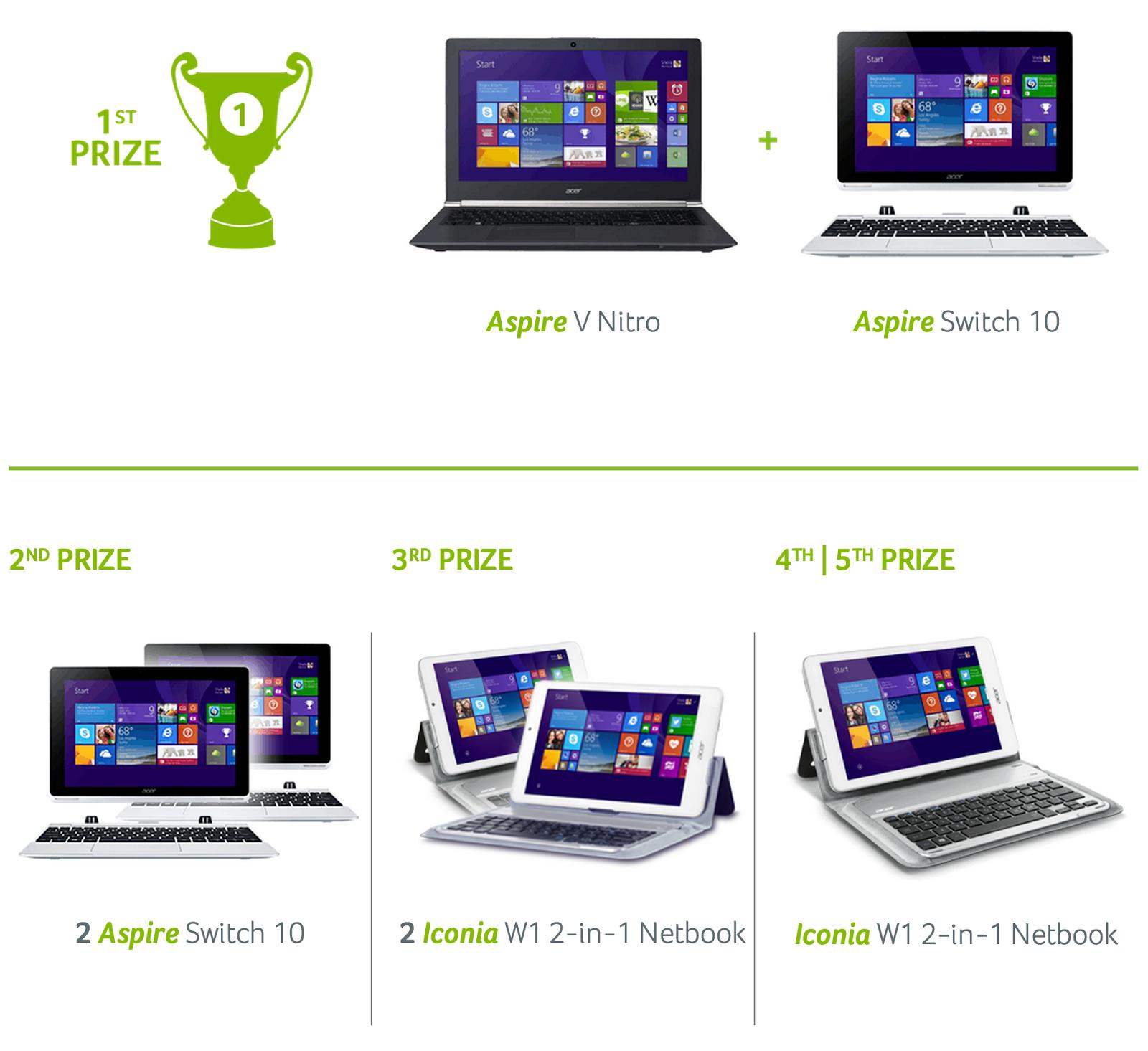 Acer #feelcloser Prizes
